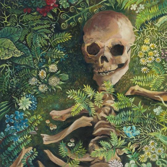 Skull in Grass 2014 布面油画 50×50cm