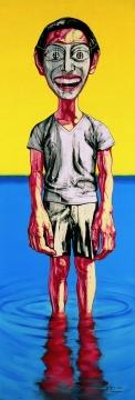 曾梵志 《面具系列》 199.6x69.2cm 布面油画 2000