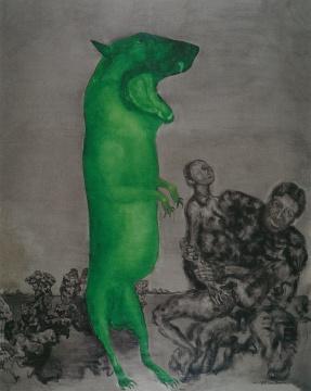 周春芽 《月下情人》 250x200cm 布面油画 1997