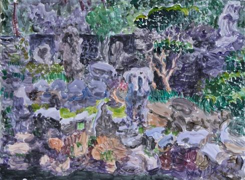 周春芽 《豫园小景》手稿 33x44cm 纸上丙烯 2017