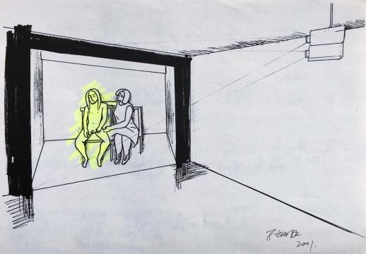 马六明《草图之一》 21x29.8cm 纸本 2001