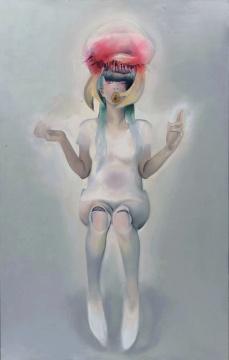宋琨 《地藏六使者-大力使者》 220x140cm 布面油画,水晶树脂 2015