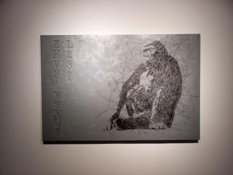 展览现场,林辉华的绘画作品