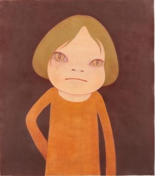 奈良美智《不是现在》 134.6 x119.4cm 纸上蜡笔、丙烯、彩色铅笔2003  估价:600万 - 800万港元