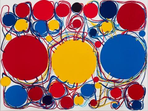 田中敦子《2001-F》193.6×258.6cm 帆布、合成聚合物油画颜料 2001  估价:600万 - 800万港元
