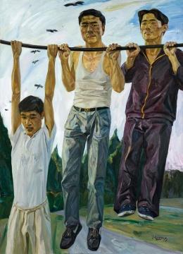 刘小东《人鸟》 167×120cm 布面油画 1990  估价:RMB:8,000,000-10,000,000