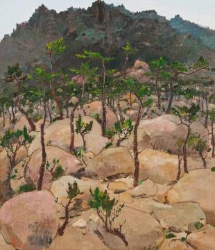 吴冠中 《崂山松石》 53.5×45.5cm 木板油画 1976  估价:RMB:9,000,000-12,000,000