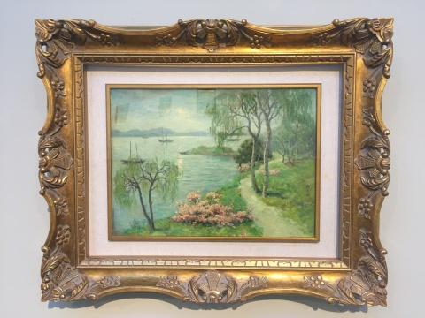颜文樑 《湖光春色》38×52cm布面油画