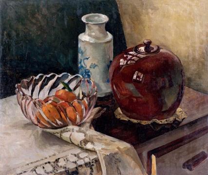 黄显之 《有玻璃果盆的静物》 54×64cm 布面油画 1940年代  估价:RMB 800,000-1,200,000