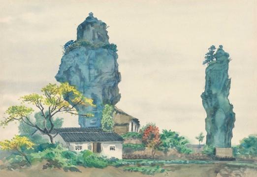 张光宇 《风景之十八(绍兴柯岩)》 27×39cm 纸本水彩 1954  估价:RMB 150,000-200,000