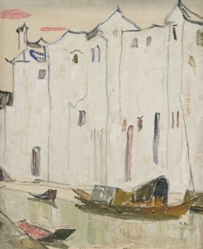 罗尔纯 《泊(柯桥水乡)》 60×50cm布面油画 1989  估价:RMB 200,000-350,000