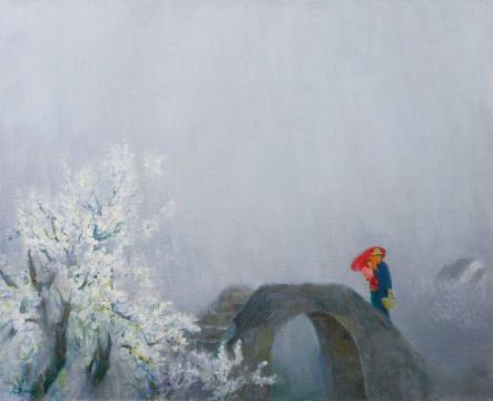 韦启美 《春雨江南》 65.5×80cm 布面油画 1995  估价:RMB 600,000-800,000