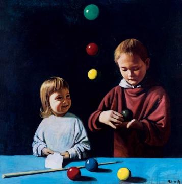 刘野 《马利的兄弟们》 85×85cm布面油画 1992  估价:RMB 800,000-1,000,000