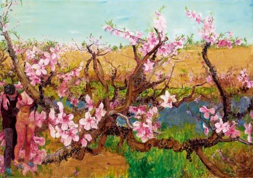 周春芽 《轻薄桃花逐水流》 254×360cm 布面油画 2010  估价:RMB 7,500,000-8,500,000
