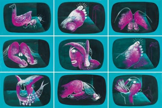 李山 《胭脂系列(九件一组)》 32×51cm×9 布面油画 1995  估价:RMB 1,800,000-2,200,000