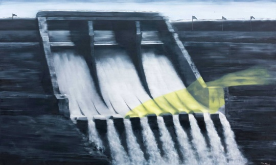 张晓刚 《里和外—大坝》 300×500cm 布面油画 2008  估价:RMB 5,500,000-6,500,000
