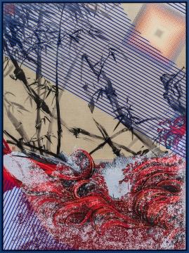 《竹潮江山图》 162×120cm 布面油画、绢本中国水墨 2017