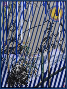 《竹石江山图8》 130×97cm布面油画、绢本中国水墨 2017