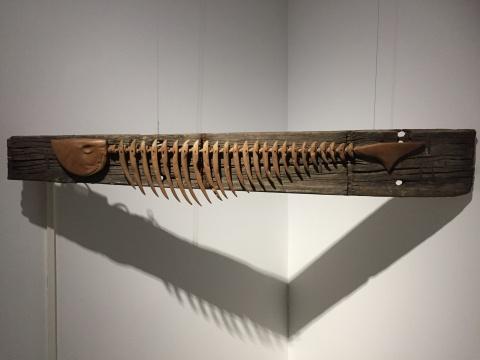李庆阳 《一个单眼皮患者的14秒1》30×10×170cm 船板木 机械2016