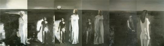 张健君《人类与他们的钟#2》235 cm x 816 cm 布面油画1987  图片由余德耀基金会提供