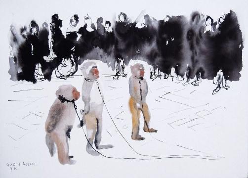 《向前看齐》38×52cm 纸本水彩 2015