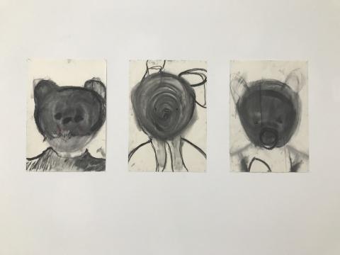 """Teddy""系列35x50cm×3纸本木炭2017"