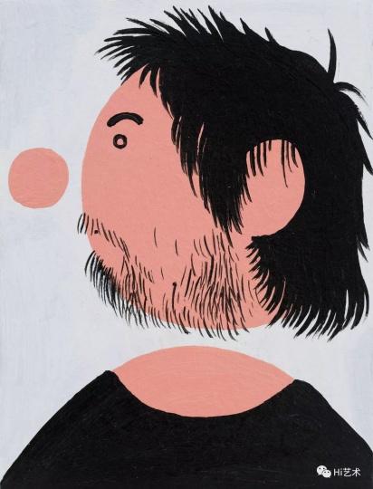 《穿黑T恤的我之一》 19.5×15cm 纸上丙烯 2017
