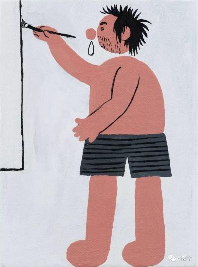 《流鼻涕的画家》 22×16cm 布面丙烯 2017
