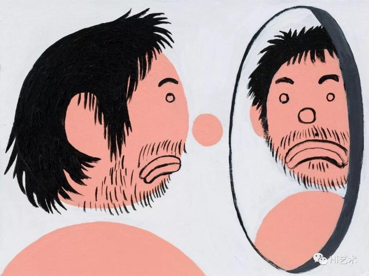 《照镜子的我》 15×20cm 纸上丙烯 2017