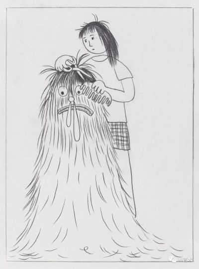 《长毛人剪发之一》 19×14cm 纸上铅笔 2017
