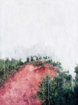 """刘炜 《风景》 199×149cm 布面油画 2006  估价:RMB 4,500,000-5,500,000    王新友:这是刘炜从无厘头、玩世的情绪,转向隐晦、说不清的情绪的转型期作品,风景、肉体结合在一起,耐人寻味。    伍劲:刘炜从90年代初的人物题材为主的玩世现实主义转向风景的作品,此时正是比较完善的时期,接下来又是解构的时期了。这也是他画风景最完美的阶段了。这件作品既像风景,又不像风景,红色的土壤又好像和他的""""肉系列""""有点关联,刘炜制造了一个暧昧的场景,他是这方面的高手。"""