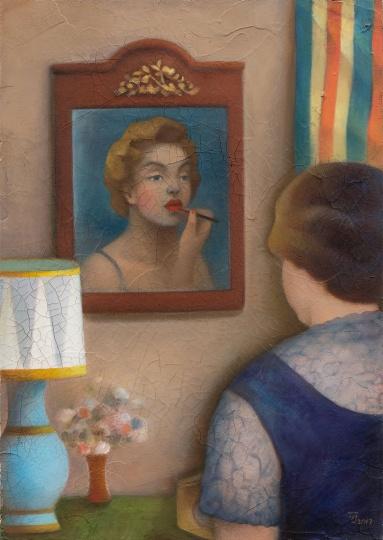 陈可 《镜中的梦露》 51.5×36.5cm 木板,油画颜料,丙烯裂纹胶 2017