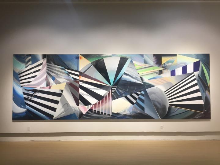 简策 《战船》 200×600cm 布面丙稀、油漆、马克笔、铅笔、粉笔、蜡笔