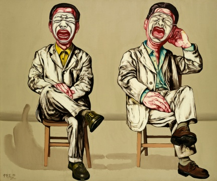 LOT1976曾梵志《面具系列第十六号》150×180cm 布面油画 1994  估价:1200-1800万元  少励家族藏中国当代艺术专场