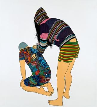 LOT2009 陈飞《勤劳致富》200×180.5cm 布面丙烯 2008  估价:30-50万元  少励家族藏中国当代艺术专场