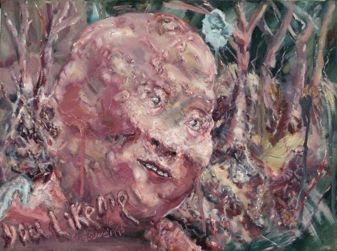 LOT1969刘炜《你喜欢我吗?系列第十四号》30×40cm 布面油画 1996  估价:40-60万元  少励家族藏中国当代艺术专场