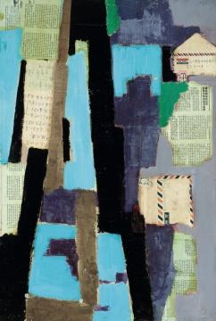 LOT2070黄锐《来信》91×61cm综合材料拼贴1981  估价:85-95万元  当代艺术夜场