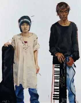 Lot2090 刘小东《小龟、小雄》162.5×130cm 布面油画 2002  估价:120-180万元  当代艺术夜场