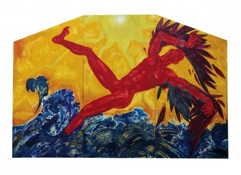 Lot2091 黄宇兴《坠海的伊卡洛斯》(三联作)244×366cm 版面油画 1999  估价:50-70万元  当代艺术夜场