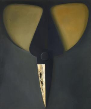 LOT1892毛旭辉《倒立的黑灰色剪刀》179×149cm 布面油画 2001  估价:50-70万元  二十世纪及当代艺术专场