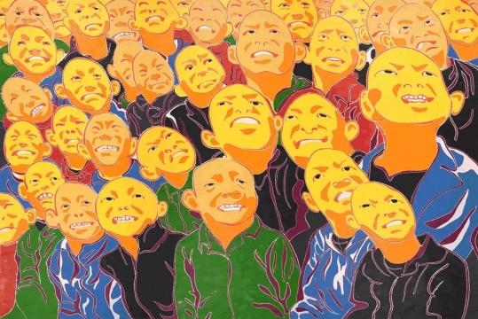 方力钧 2017,60x80cm,木刻版画