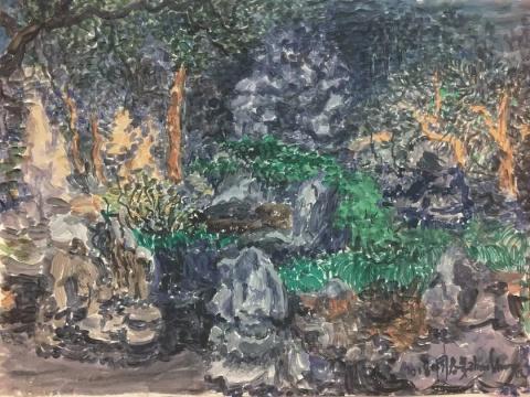 周春芽 《豫园小景》纸上丙烯 43.8x32.5cm2018