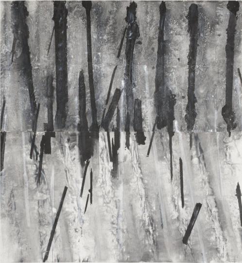 郑重宾《线阵 1》192x180cm墨、丙烯、宣纸2013