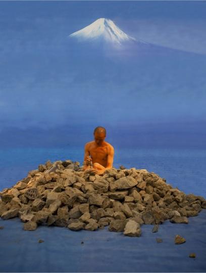 何云昌《卧游—从福冈美术馆到富士山》126 x 167 cm (展览尺寸:160 x 210 cm) 2009