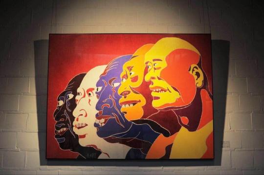 方力钧展出作品:《2017》 122x163cm 木刻版画 2017