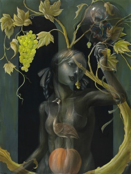《Vanity系列-深秋的门廊》 80×60cm 布面丙烯 2018