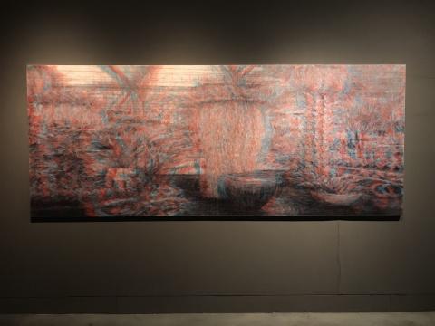 石井友人《次影像( 温室植物园)》 130.3 x 322.2 cm (100号 x 2) 布面油画