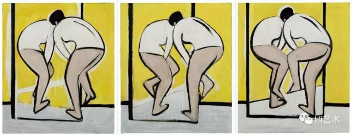 《无题-三个动作》130×110cm×3布面油画2016