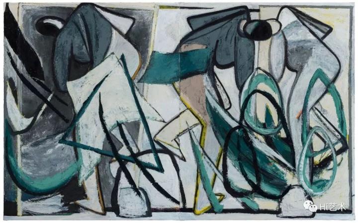 《无题-镜前的三角形》250×400cm布面油画2015-2017