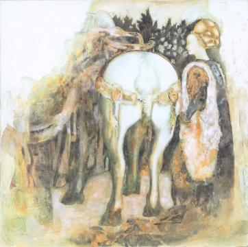 王峥 临摹《皮萨内罗壁画局部》40x40cm 木板裱布坦培拉 2015